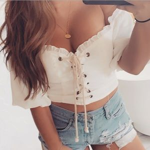 Lace up white crop top